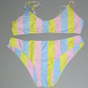 Striped pastel bikini set